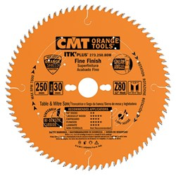 CMT ITK Plus Thin-Kerf Fine Cut-Off Blade - 250mm - 80 Tooth