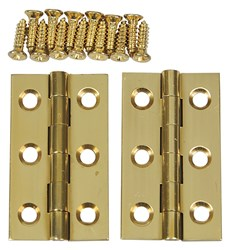 "Solid Brass Butt Hinges - 1-1/2"" x 7/8"""