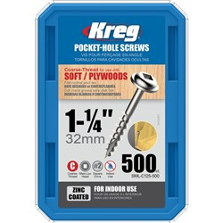 "Kreg Pocket Screws 1-1/4"" Coarse Thread - 500pc"