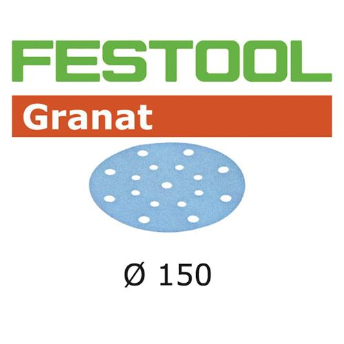Festool 150mm Granat Abrasive Disc - 16 Hole P100 - 100 Pack