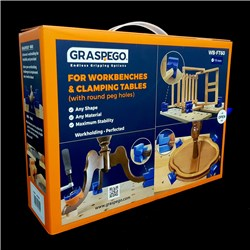 "Graspego Clamp Heads for Dog Hole Mounting 3/4"" (19mm) Shank - Pack of 4 heads"