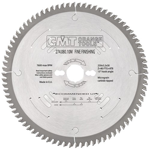 CMT Xtreme Fine Finishing Blade - 250mm - 80 Tooth