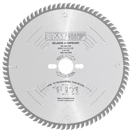 CMT Industrial Laminate and Chipboard Blade - 250mm - 80 Tooth