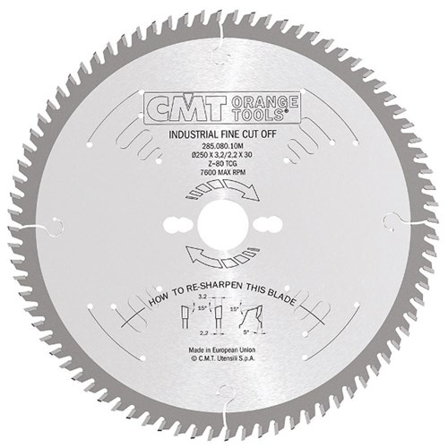 CMT Industrial Finishing Saw Blade - 250mm - 80 Tooth