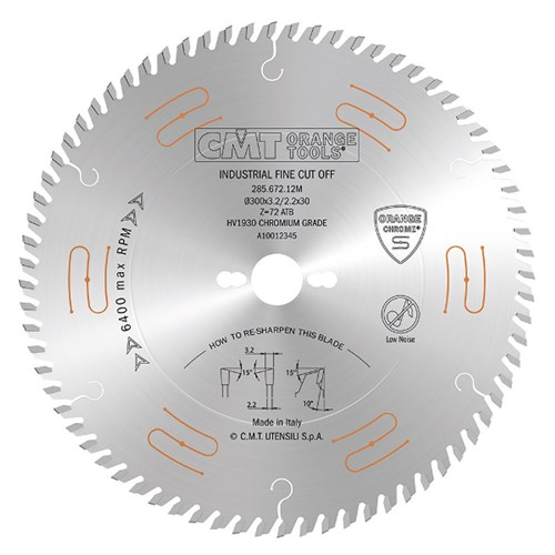 CMT Industrial Low Noise and Chrome Coated Blade - 300mm - 72 Tooth