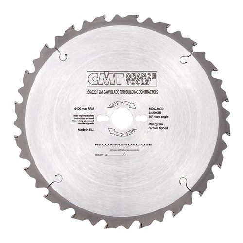 CMT Industrial Blade for Building Contractors - 300mm - 20 Tooth