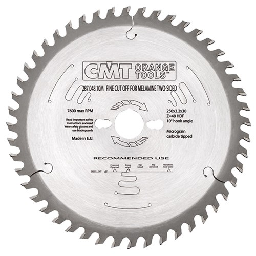 CMT Industrial Fine Cut-Off Blade for Two Sided Melamine - 300 - 60 Tooth