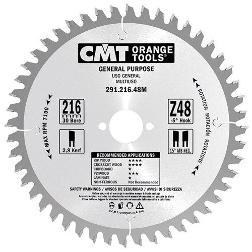 CMT Crosscut Saw Blade - 180mm