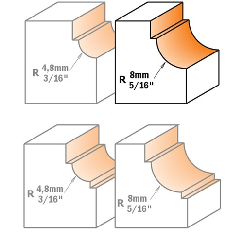 "CMT Cavetto Edge Moulding Bit 8mm Radius 1/2"" Shank"