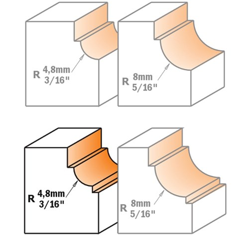"CMT Cavetto Edge Moulding Bit for Dual Fillets 4.8mm Radius 1/4"" Shank"