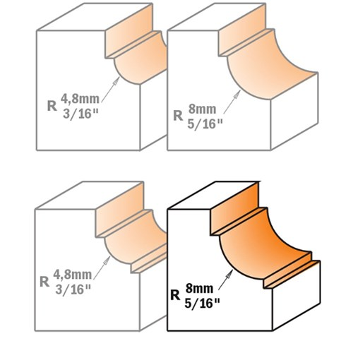 CMT Cavetto Edge Moulding Bit for Dual Fillets 8mm Radius 1/4