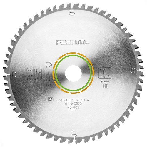 Festool Saw Blade - 260mm 60 Tooth