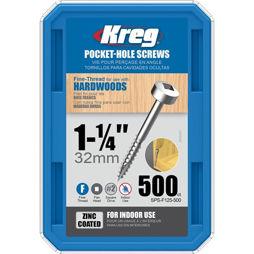 "Kreg Pocket Screws 1-1/4"" Fine Thread Pan Head 6g - 500pc"