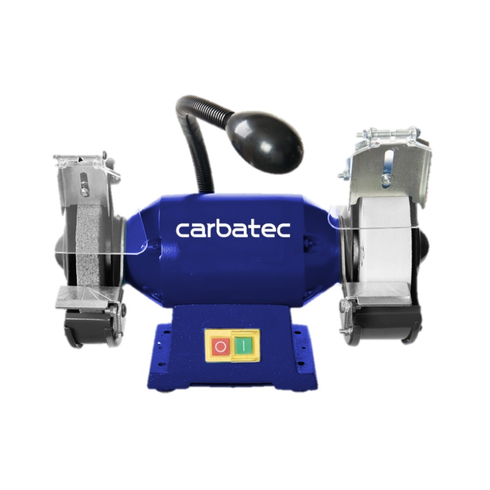 Carbatec Wide Stone Bench Grinder With Led Light